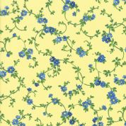 Moda - Summer Breeze 2019 - 7088 - Blue Floral Vine on Yellow - 33445 13 - Cotton Fabric
